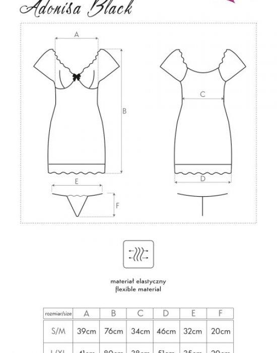 Еротична тънка нощница с прашки Adonisa, LivCo Corsetti Fashion, Комплекти - Modavel.com