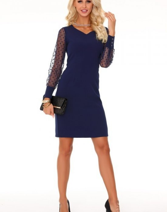 Елегантна мини рокля в тъмносин цвят, Merribel, Къси рокли - Modavel.com