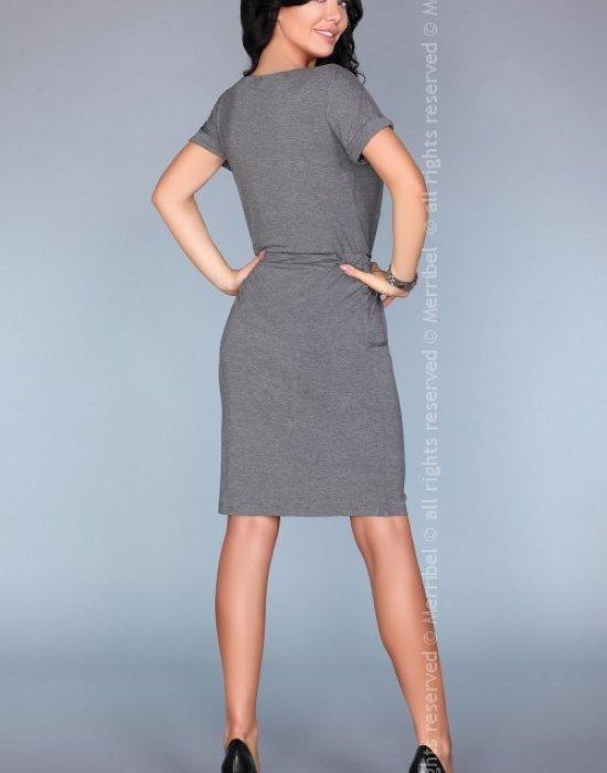 Ежедневна миди рокля в сив цвят, Merribel, Миди рокли - Modavel.com
