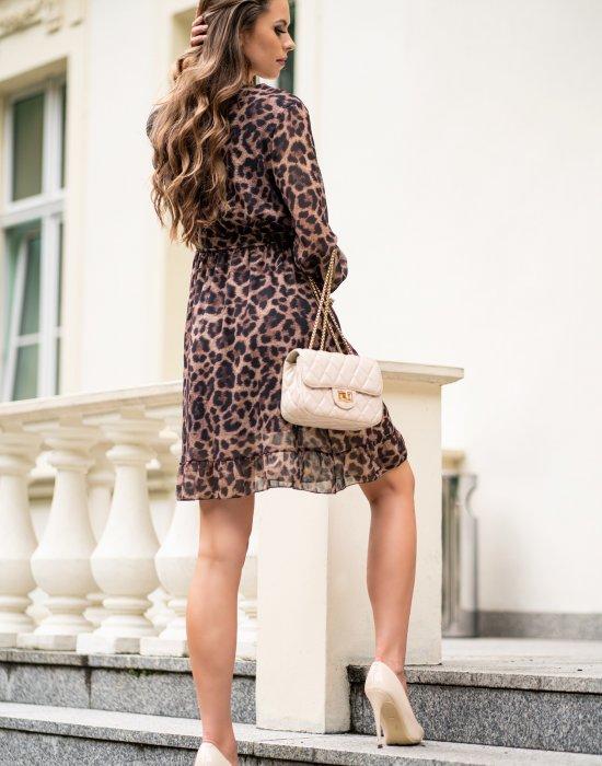 Ефирна дамска рокля в леопардов десен Rimea, Merribel, Къси рокли - Modavel.com