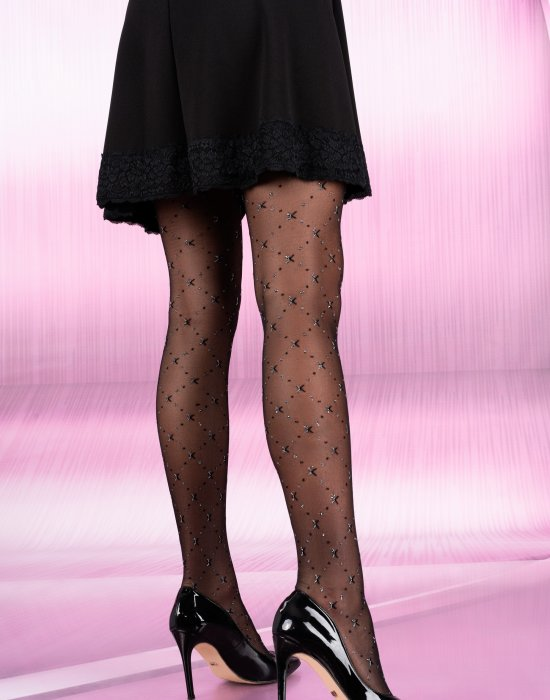Чорапогащник в черен цвят със сребристи нишки Mirisat 20 DEN