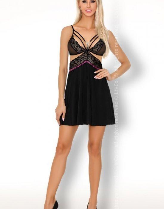 Секси нощница с прашки в черно Collyna, LivCo Corsetti Fashion, Комплекти - Modavel.com