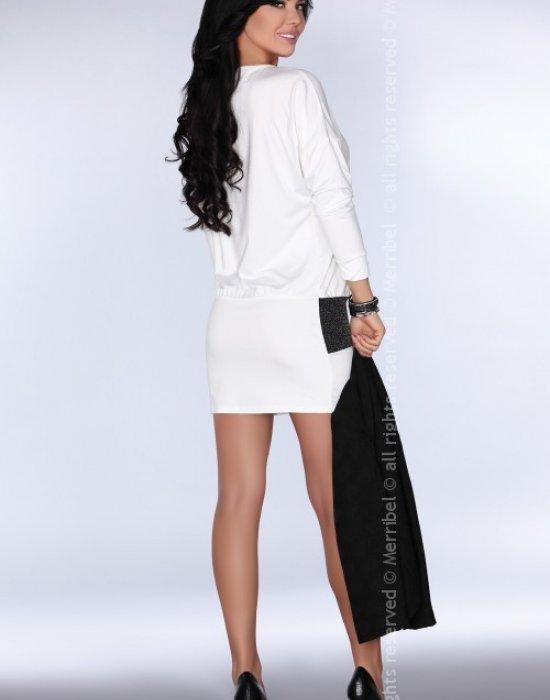 Елегантна мини рокля в бял цвят, Merribel, Къси рокли - Modavel.com