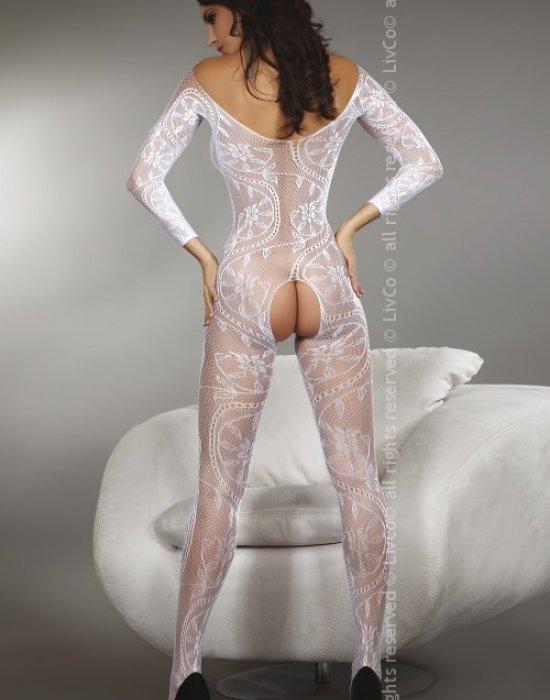 Целокупно мрежесто боди в бял цвят Zita, LivCo Corsetti Fashion, Целокупни бодита - Modavel.com