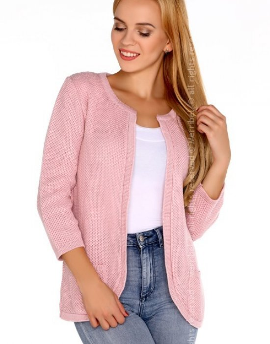 Отворена дамска жилетка в розово Hetiena, Merribel, Връхни - Modavel.com