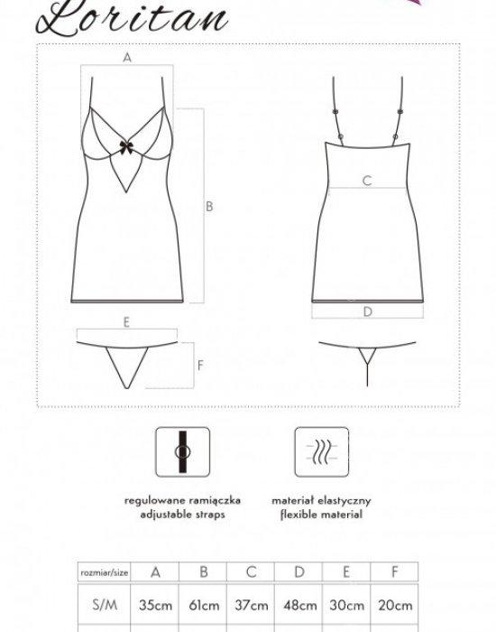 Секси нощница с прашки в черно Loritan, LivCo Corsetti Fashion, Комплекти - Modavel.com