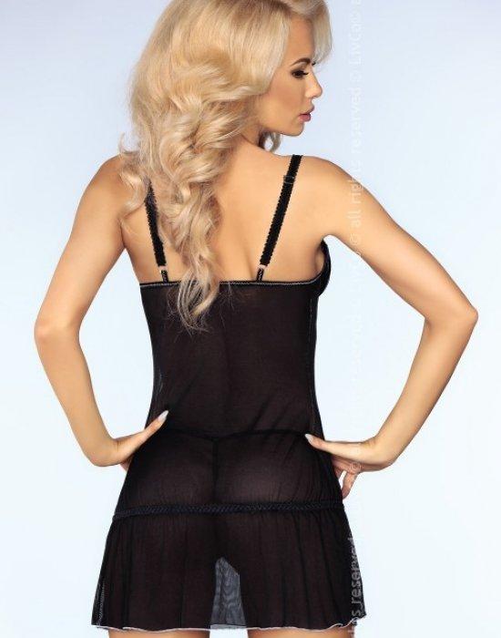Еротична нощница с прашки в черен цвят Ebony, LivCo Corsetti Fashion, Комплекти - Modavel.com