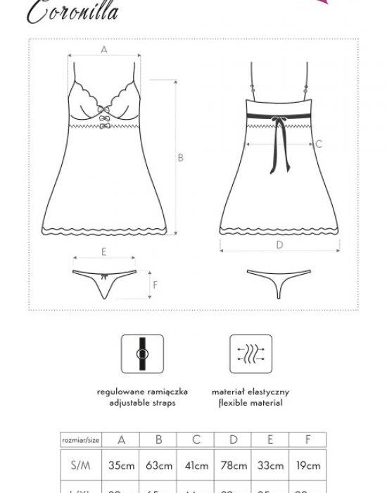 Прозрачна нощница с прашки Coronilla, LivCo Corsetti Fashion, Комплекти - Modavel.com