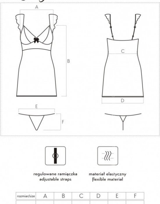 Еротична прозрачна нощница с прашки Kinge, LivCo Corsetti Fashion, Комплекти - Modavel.com