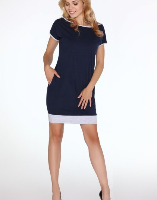 Ежедневна къса рокля в син цвят Kamalian, Merribel, Къси рокли - Modavel.com