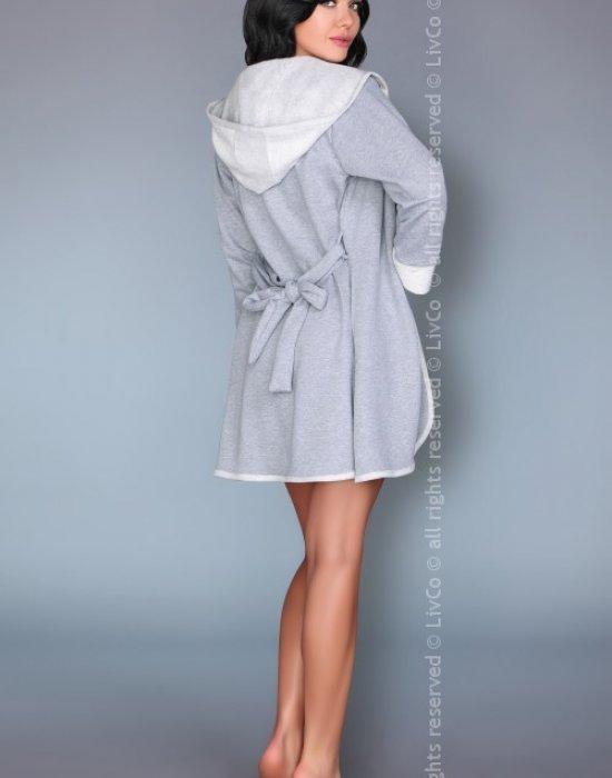 Дамски халат с качулка в сиво Jayanti, LivCo Corsetti Fashion, Халати - Modavel.com