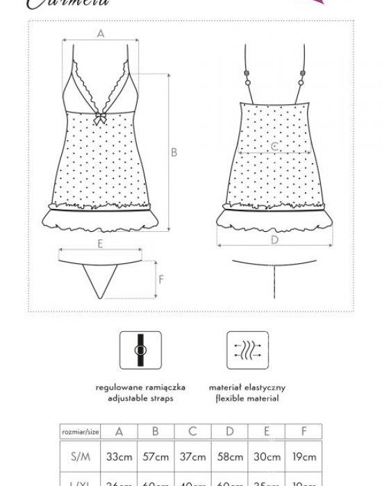 Секси нощница с прашки в черно Carmela, LivCo Corsetti Fashion, Комплекти - Modavel.com