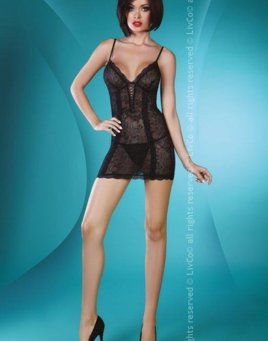 Еротична нощница с прашки в черно Hannah, LivCo Corsetti Fashion, Комплекти - Modavel.com