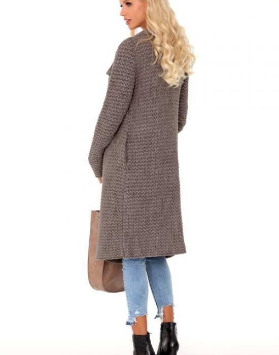 Дълга дамска жилетка в цвят мока Mayamino, Merribel, Връхни - Modavel.com