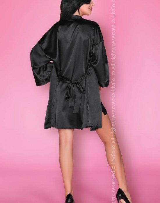 Луксозен сатенен халат в черно Dorettela, LivCo Corsetti Fashion, Секси Халати - Modavel.com