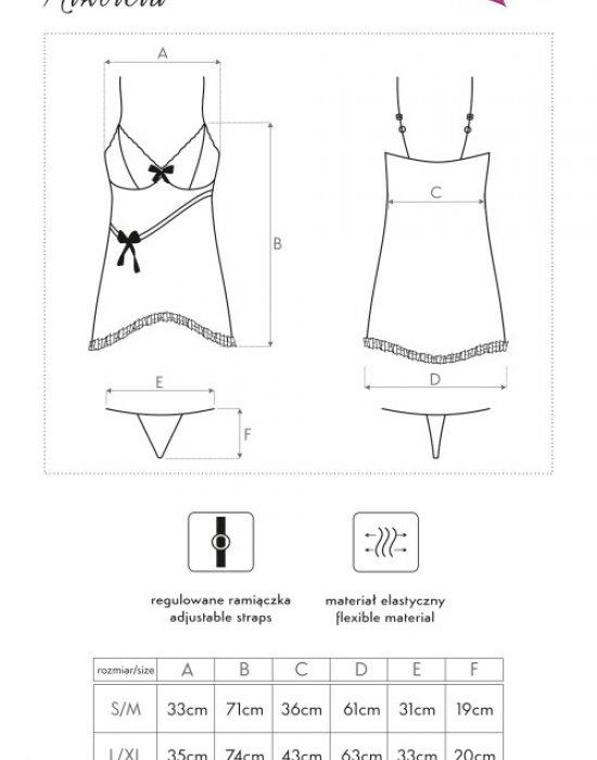Секси нощница с прашки в черно Nikoleta, LivCo Corsetti Fashion, Комплекти - Modavel.com