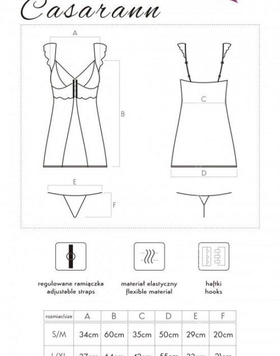 Еротична прозрачна нощница с прашки Casarann, LivCo Corsetti Fashion, Комплекти - Modavel.com