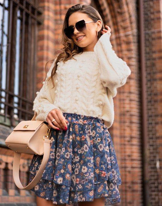 Къса дамска пола с флорални мотиви Botegan