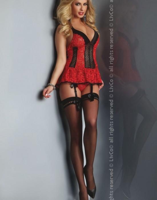 Еротичен дантелен корсет с прашки Red Rose, LivCo Corsetti Fashion, Корсети - Modavel.com