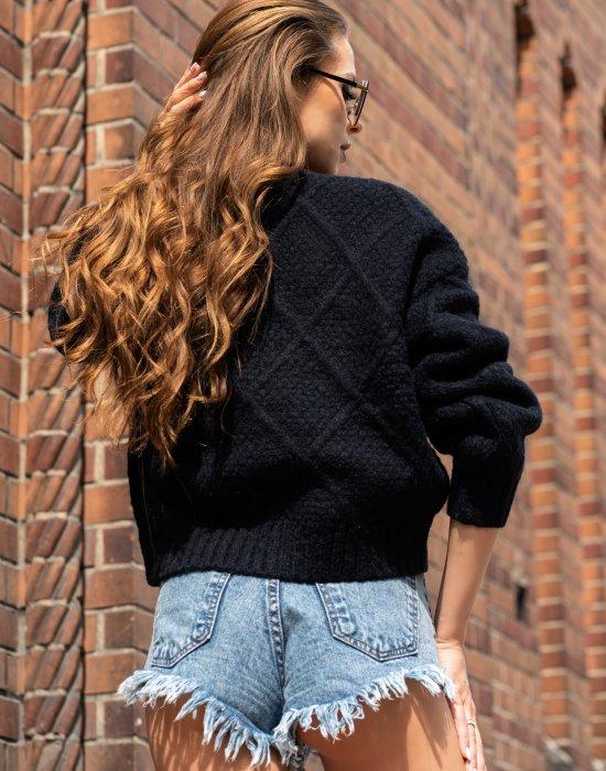 Дамски пуловер в черен цвят Xmasin