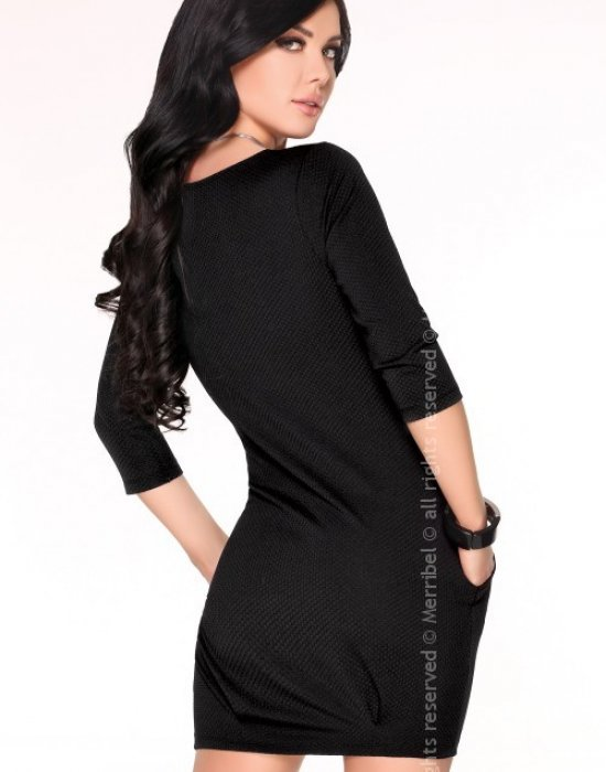 Ежедневна миди рокля в черно Hattyna, Merribel, Миди рокли - Modavel.com
