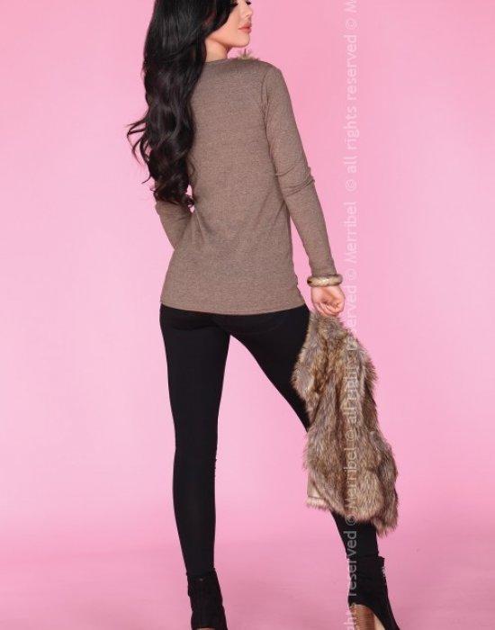 Дамска блуза с пух в бежово CG019, Merribel, Блузи / Топове - Modavel.com