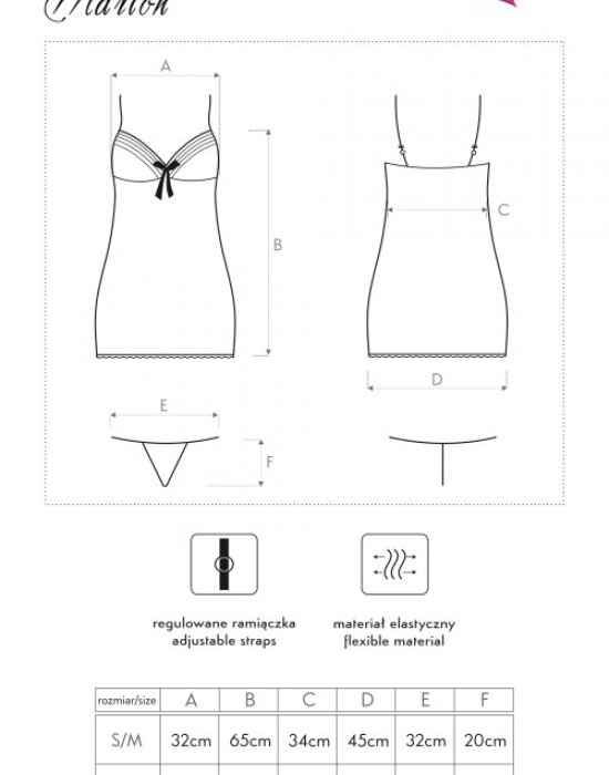 Секси нощница с прашки в черно Marion, LivCo Corsetti Fashion, Комплекти - Modavel.com
