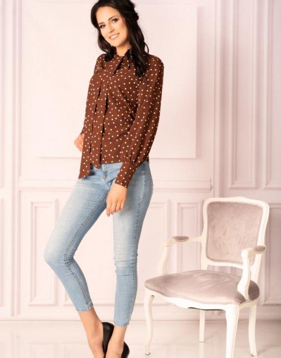 Дамска блуза в кафяв цвят на точки Manures B7, Merribel, Блузи / Топове - Modavel.com