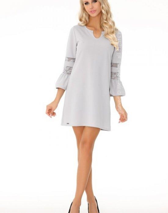 Елегантна къса рокля в сиво Megarnina, Merribel, Къси рокли - Modavel.com