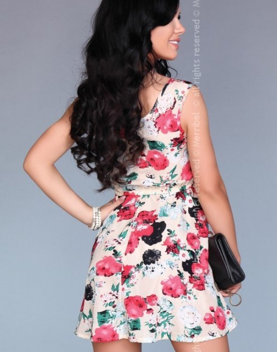 Ежедневна мини рокля във флорален мотив, Merribel, Къси рокли - Modavel.com