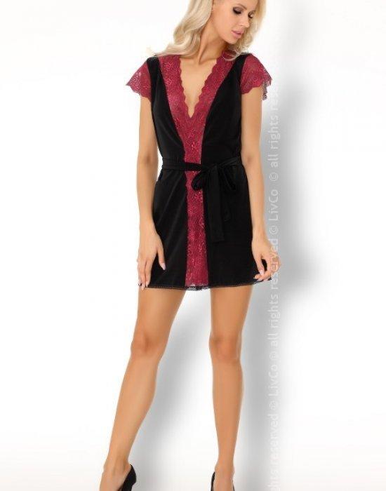 Секси халат с прашки в черно Kumiko, LivCo Corsetti Fashion, Комплекти - Modavel.com