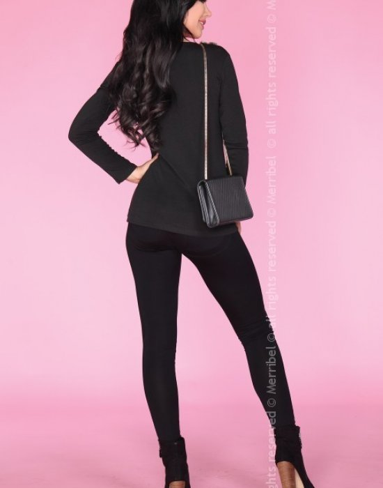 Дамска блуза с пух в черно CG019, Merribel, Блузи / Топове - Modavel.com