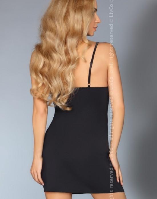Еротична черна нощница с прашки Anika, LivCo Corsetti Fashion, Комплекти - Modavel.com