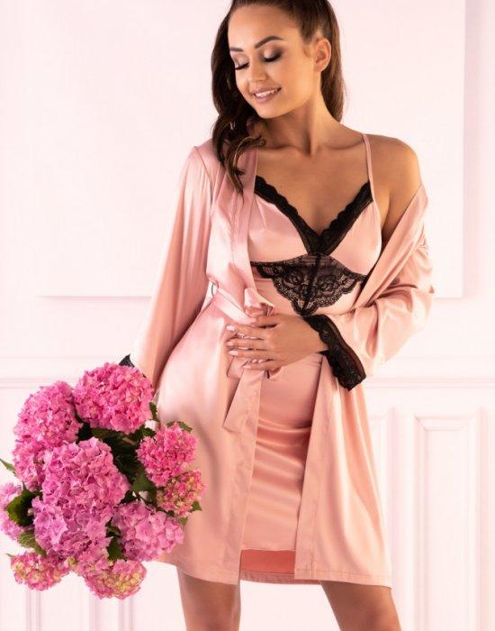 Сатенен халат с прашки в розово Ariladyen