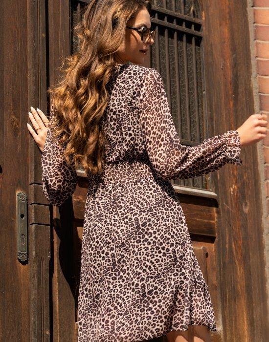 Ефирна дамска рокля в животински принт Arnila, Merribel, Къси рокли - Modavel.com