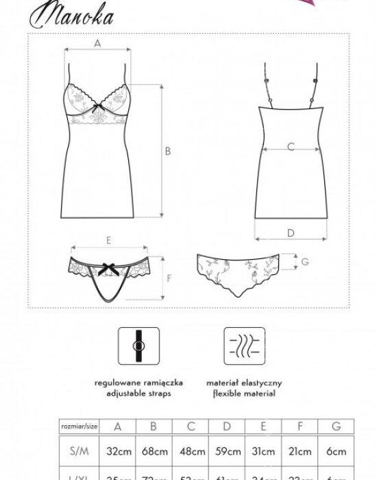 Секси нощница с бикини в синьо Manoka, LivCo Corsetti Fashion, Комплекти - Modavel.com