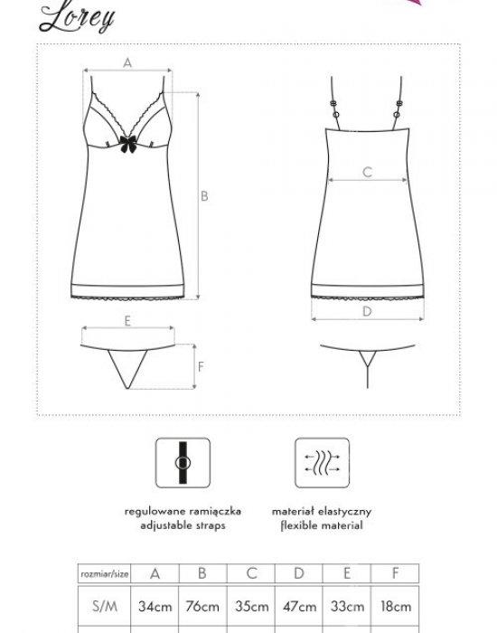 Секси нощница с прашки в черно Lorey, LivCo Corsetti Fashion, Комплекти - Modavel.com