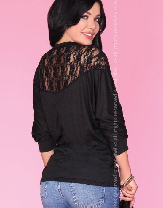 Дамска блуза с 7/8 ръкав в черно CG023, Merribel, Блузи / Топове - Modavel.com