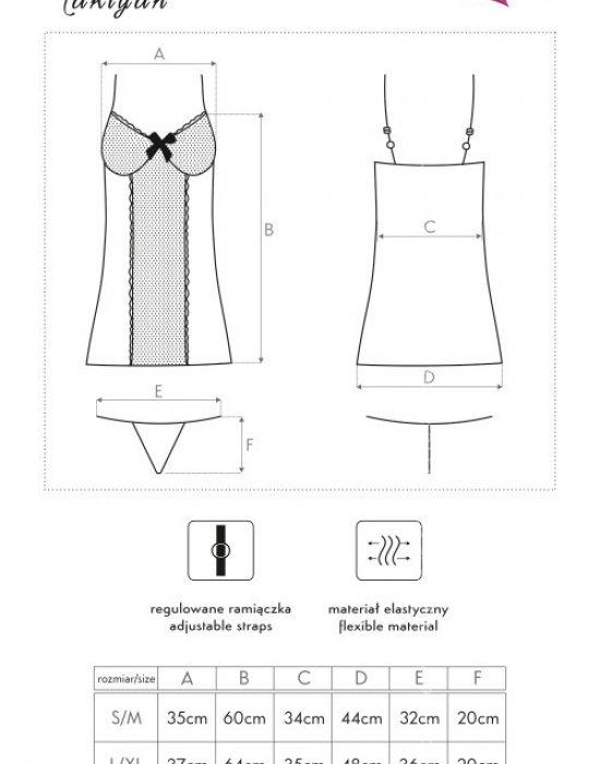 Секси прозрачна нощница с прашки Takiyah, LivCo Corsetti Fashion, Комплекти - Modavel.com