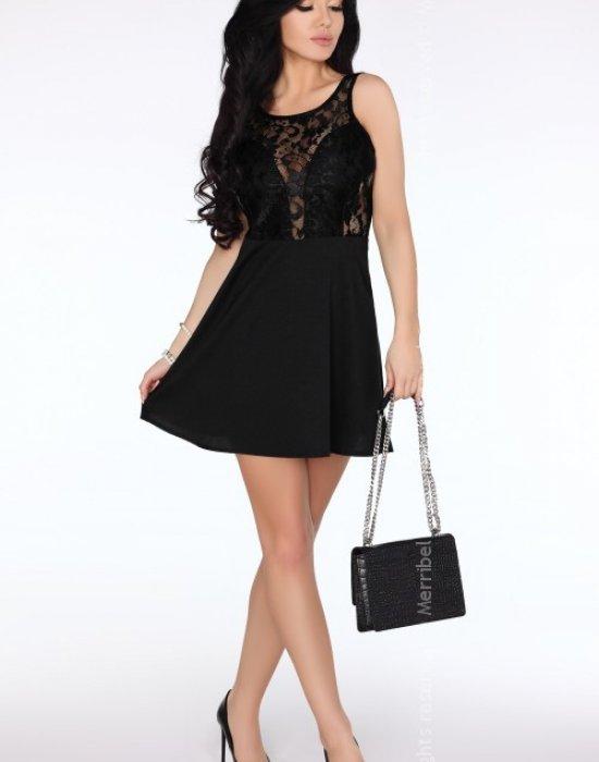 Елегантна мини рокля в черно Keita, Merribel, Къси рокли - Modavel.com