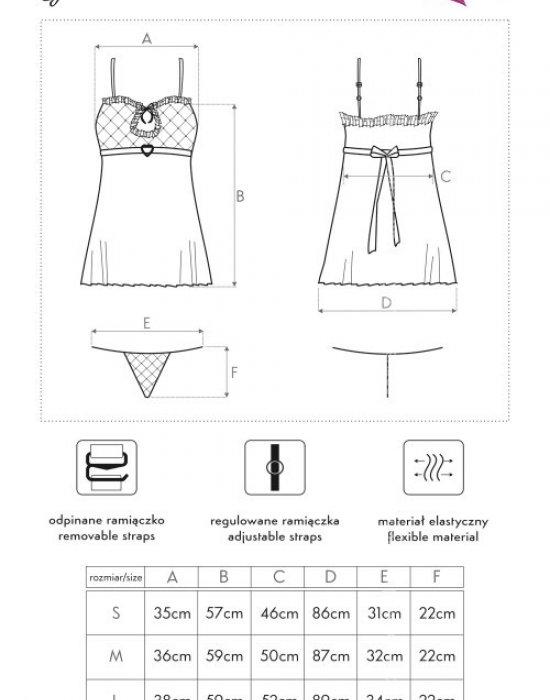 Еротична нощница с прашки в черно Gioconda, LivCo Corsetti Fashion, Комплекти - Modavel.com