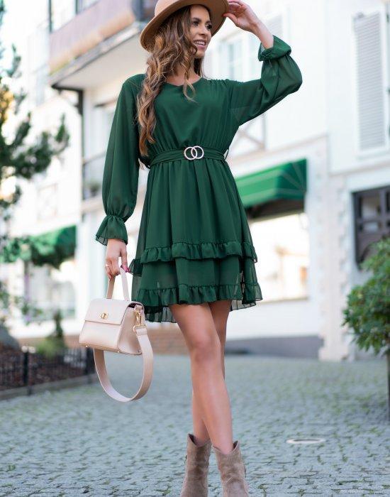 Ефирна рокля в зелен цвят Perlid