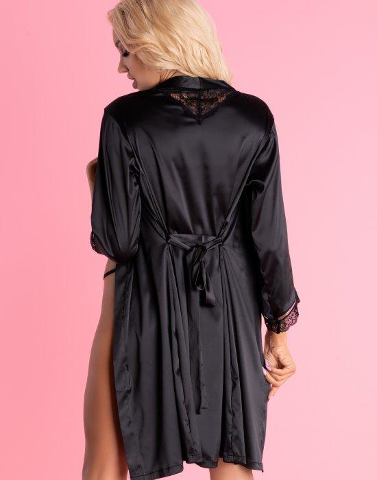 Сатенен халат с прашки в черно Ariladyen