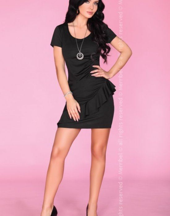 Елегантна къса рокля в черен цвят, Merribel, Къси рокли - Modavel.com