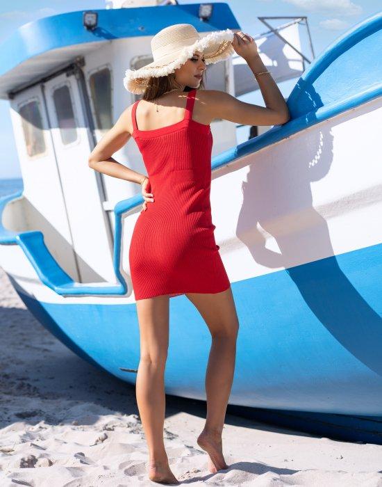 Къса рокля в червен цвят Soriee