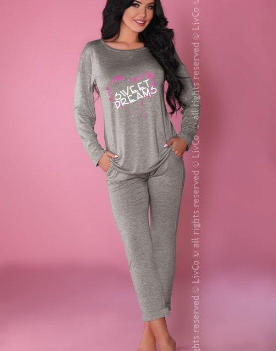 Дамска сива пижама от две части MODEL 106, LivCo Corsetti Fashion, Пижами - Modavel.com