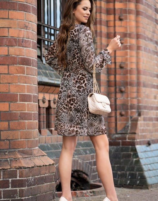 Ефирна дамска рокля в змийски принт Nirala, Merribel, Къси рокли - Modavel.com