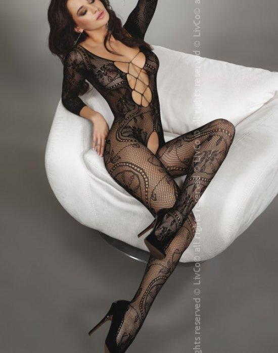 Целокупно мрежесто боди в черен цвят Zita, LivCo Corsetti Fashion, Целокупни бодита - Modavel.com