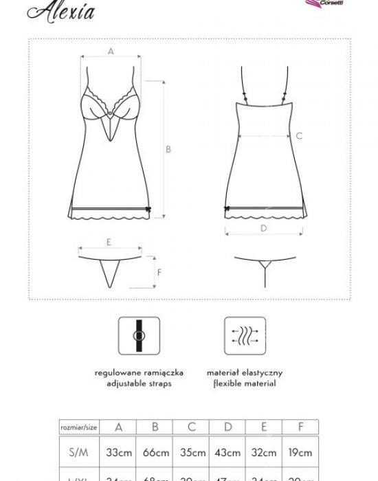 Сатенена нощница с прашки Alexia, LivCo Corsetti Fashion, Комплекти - Modavel.com