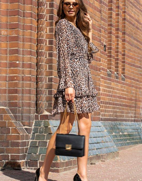 Ефирна дамска рокля в леопардов принт Peronin, Merribel, Къси рокли - Modavel.com